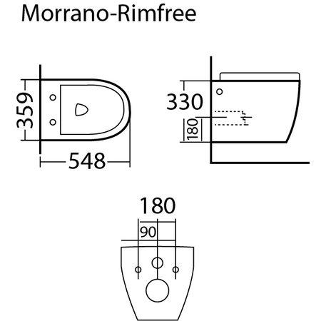 "Best-design Best-Design ""Morrano-49-Zonder-Spoelrand"" wandcloset blinde bevestiging incl.zitting mat-zwart"