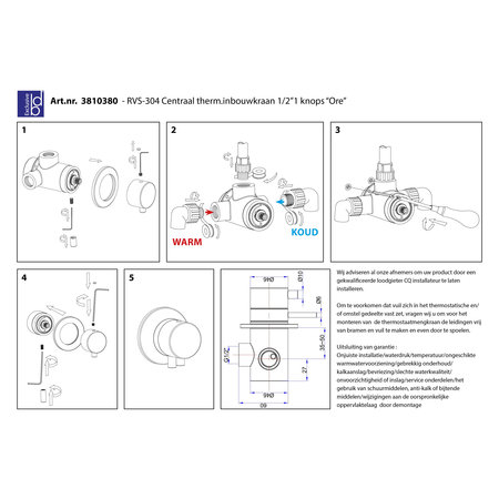 """Best-design Best-Design RVS-304 """"Ore"""" centraal thermostatische inbouwkraan 1/2"""" 1 knops"""