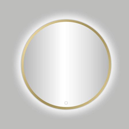 """Best-design Best-Design Nancy """"Venetië-Thin"""" ronde spiegel Mat-Goud incl.led verlichting Ø 80 cm"""