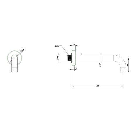 """Best-design Best-Design 90° muuruitloop met rozet 1/2""""x 21 cm chroom"""