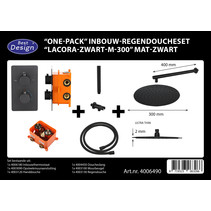 "Best-Design ""One-Pack"" inbouw-regendoucheset ""Lacora-Nero M-300"" mat-zwart"