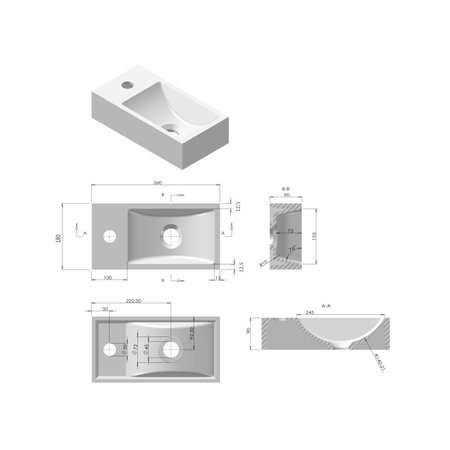 "Best-design Best-Design ""R-Line"" fontein L&R inclusief zwart frame met kraangat"