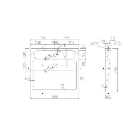"Best-design Best-Design ""Lot-50"" opbouw-wastafel Limestone 50x45x6cm m/krgat"