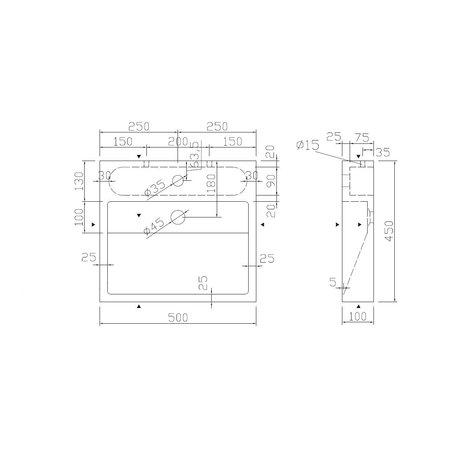"""Best-design Best-Design """"Dieplot-50"""" opbouw-wastafel Limestone 50x45x10cm m/krgat"""