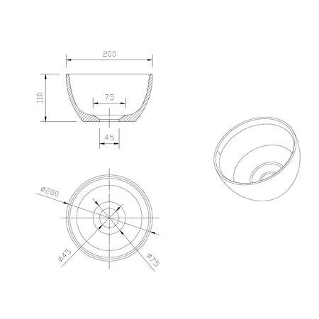 """Best-design Best-Design """"Arezzo"""" fontein opbouwkom """"Just-Solid"""" Ø 20 cm"""