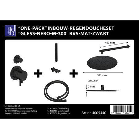 """Best-design Best-Design """"One-Pack"""" inbouw-regendoucheset """"Gless-Nero M-300"""" RVS mat-zwart"""