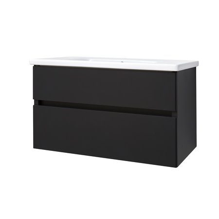 "Best-design Best-Design ""Quick-Black-Greeploos"" meubel onderkast + wastafel 100 cm mat-zwart"