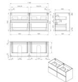 "Best-design Best-Design ""Bora-Black-Greeploos"" meubel onderkast 4 laden zonder wastafel 120 cm mat-zwart"