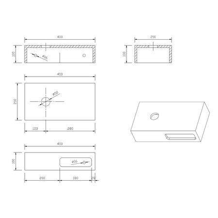 """Best-design Best-Design Fontein-Planchet """"Malo"""" Just-Solid 40x21x10cm"""