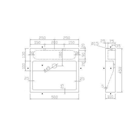 """Best-design Best-Design """"Dieplot-50"""" opbouw-wastafel Limestone 50x45x10cm z/krgat"""