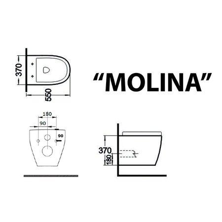 "Best-design Best-Design ""Molina"" wandcloset 55cm incl.zitting glans-wit"