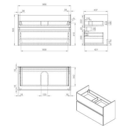 """Best-design Best-Design """"Quick-Grey-Greeploos"""" meubel onderkast + wastafel 100 cm Grijs-Eiken"""