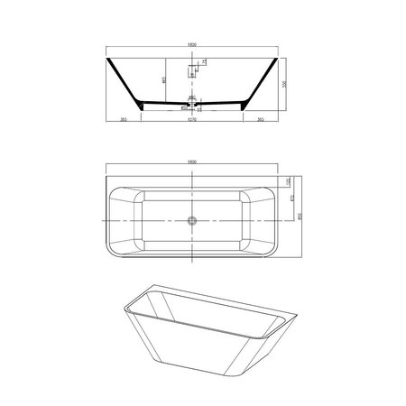 "Best-design Best-Design Semi-Vrijstaand-Bad ""Borgh"" Just-Solid 180x85x55cm"