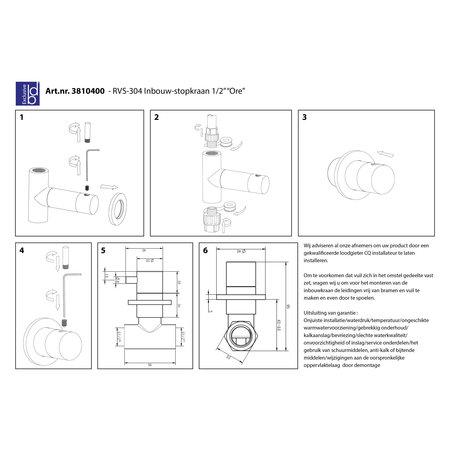 """Best-design Best-Design RVS-304 """"Ore"""" inbouw-stopkraan 1/2"""""""