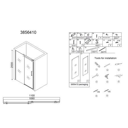 "Best-design Best-Design ""Erico"" nisdeur schuif 108-110cm H=200cm NANO glas 8mm"