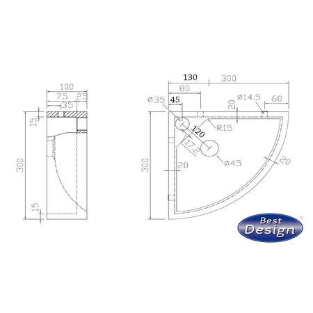 """Best-design Best-Design """"Bern"""" hoekfontein Limestone 30x30x10cm"""