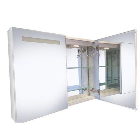"Best-design Best-Design ""Aluma"" luxe spiegelkast incl. LED verlichting 90x60cm"
