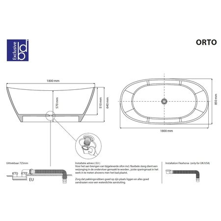 """Best-design Best-Design """"Orto"""" vrijstaand bad """"Just-Solid"""" 180x85x64cm"""