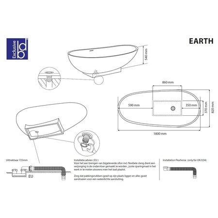 """Best-design Best-Design """"Earth"""" vrijstaand bad """"Just-Solid"""" 180x84x56cm"""