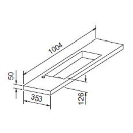 """Best-design Best-Design """"Slim"""" wastafel voor meubel 100cm (ondiep) 35 cm met kraan gat"""