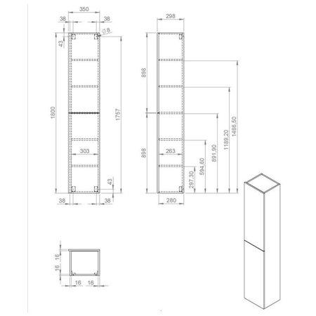 "Best-design Best-Design ""Blica-Grey"" hoge kolomkast L&R 35x180 cm Grijs-Eiken"