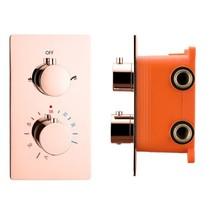 "Best-Design ""Lyon"" inbouwthermostaat & inb.box 2-weg 1/2"" rosé-mat-goud"