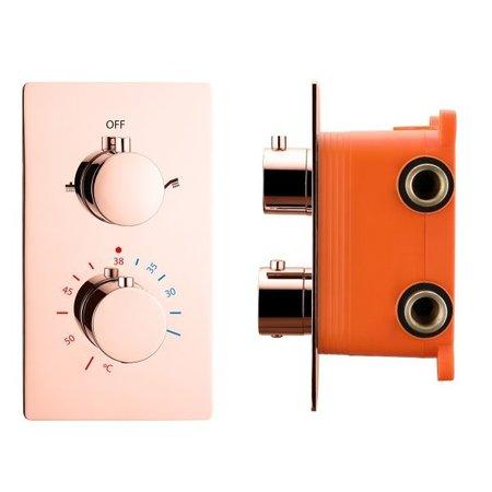 "Best-design Best-Design ""Lyon"" inbouwthermostaat & inb.box 2-weg 1/2"" rosé-mat-goud"