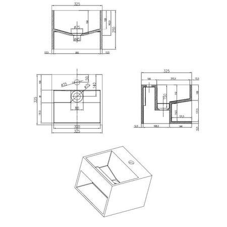 """Best-design Best-Design """"Buq-30"""" fontein """"Just-Solid"""" 32.5x32.5x25cm z/kraangat"""