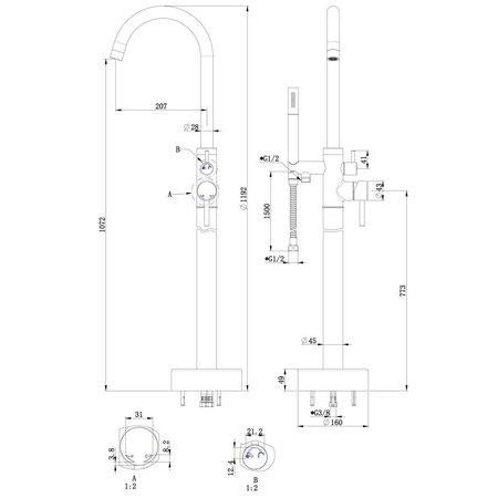 """Best-design Best-Design """"Dresden-Ore"""" vrijstaande badkraan H=112 cm RVS-304"""