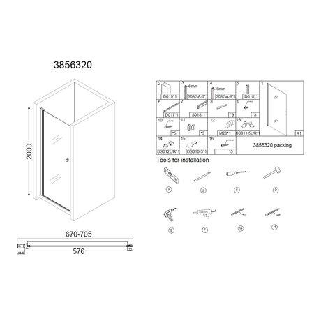 "Best-design Best-Design ""Erico"" nisdeur met profiel 67-70cm H=200cm NANO glas 6mm"