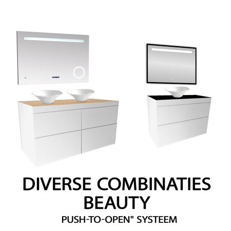 "Best-design Best-Design ""Beauty-120-Glans-Wit-Greeploos"" meubel onderkast 4-laden"