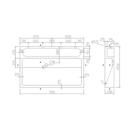 """Best-design Best-Design """"Dieplot-70"""" opbouw-wastafel Limestone 70x45x10cm z/krgat"""