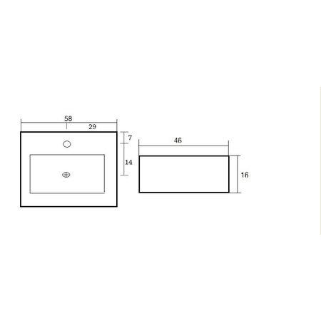 """Best-design Best-Design """"Feel"""" wastafel 58x46x16cm m/1krg"""