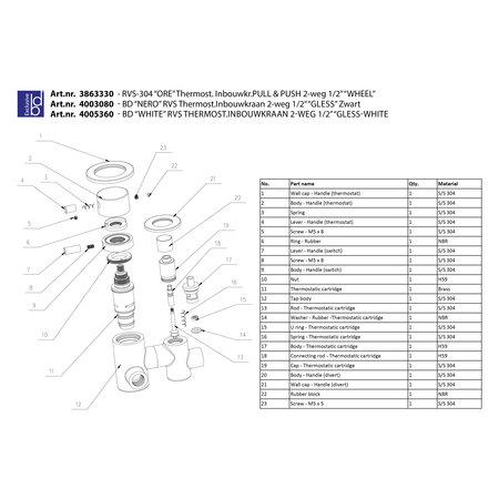 """Best-design Best-Design RVS-304 """"Ore-Wheel"""" thermost. inbouwkr. Pull & Push 2-weg 1/2"""""""