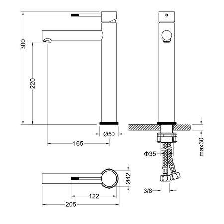 "Best-design Best-Design ""Solution"" RVS-304 ""Ore"" hoge-wastafelmengkraan"
