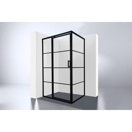 """Best-design Best-Design Douchecabine Zwart """"Zeplin-1200"""" met nisdeur 1200x900x2100x8mm"""
