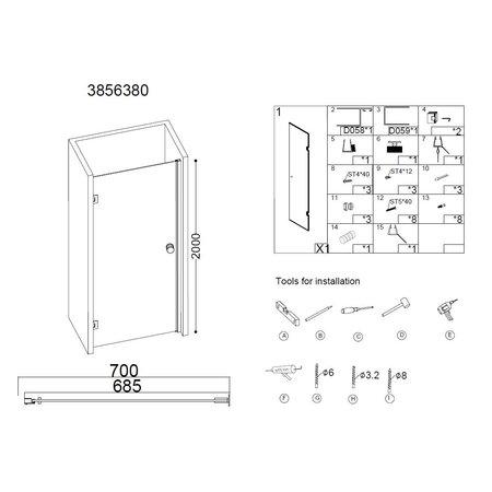 """Best-design Best-Design """"Erico"""" nisdeur 68,5-70x200cm NANO glas 8mm"""