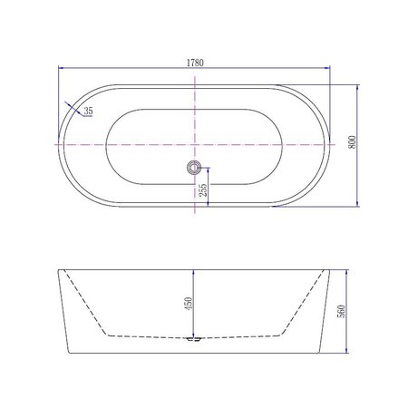 "Best-design Best-Design ""Becoma Mat-Wit"" vrijstaand bad 178x80x56cm"