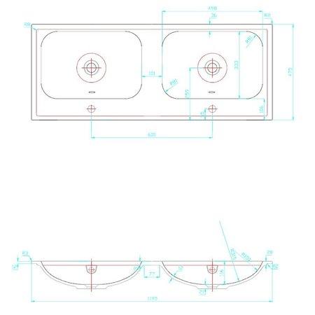 """Best-design Best-Design duo-wastafel 120 cm tbv: meubel """"Bora"""" zonder kraangaten"""