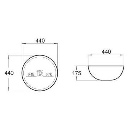 "Best-design Best-Design ""Combo"" opbouw-waskom Ø=44,5cm H=17,5cm"