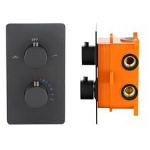 """Best-Design """"Lacora"""" inbouwthermostaat & inb.box 2-weg 1/2"""" """"Nero"""" ronde knoppen"""