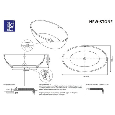 """Best-design Best-Design """"New-Stone"""" Bicolor-Lava (Grijs)/Wit vrijstaand bad """"Just-Solid"""" 180x85x52cm"""