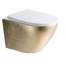 """Best-Design """"Royal-Gold-49-Zonder-Spoelrand"""" wandcloset blinde bevestiging incl.zitting glans-wit /goud"""