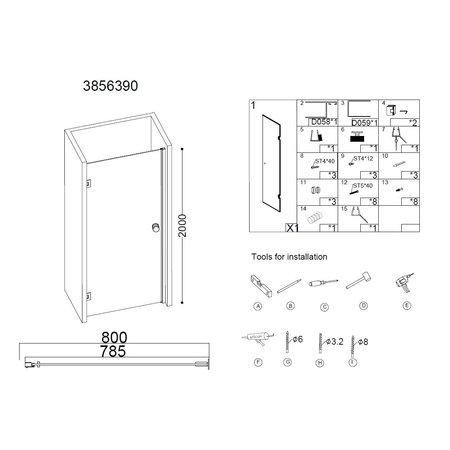 """Best-design Best-Design """"Erico"""" nisdeur 78,5-80x200cm NANO glas 8mm"""