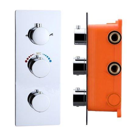 """Best-design Best-Design """"Magna"""" inbouw thermostaat & Inb.box 3 weg 1/2"""" ronde knoppen"""