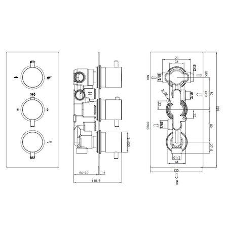 "Best-design Best-Design ""New-Bologna"" inbouw thermostaat 3 weg 1/2"" ronde knoppen"
