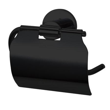 """Best-design Best-Design """"Nero"""" toiletrolhouder met klep mat-zwart"""