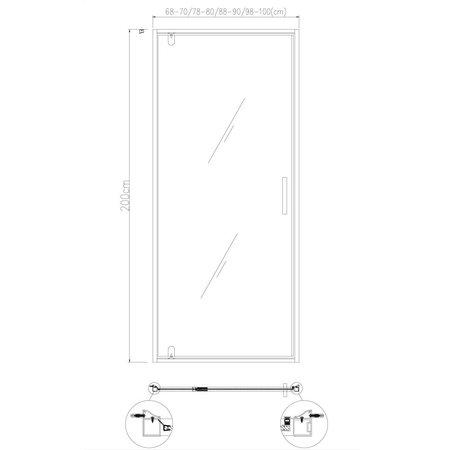 """Best-design Best-Design """"Baron-100"""" Nisdeur Zwart 98-100x200 cm Nano Glas 8 mm"""