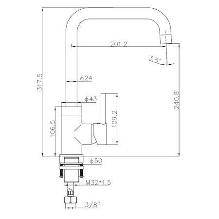 """Best-design Best-Design Lyon """"Buco"""" Keukenmengkraan H=32 cm rosé-mat-goud"""