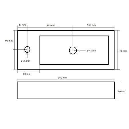 """Best-design Best-Design """"Mini-Block"""" fontein antraciet-grijs Links 36x18x9cm"""